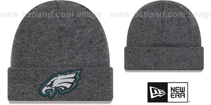 Eagles 'HEATHERED-SPEC' Grey Knit Beanie Hat by New Era : pictured without stickers that these products are shipped with