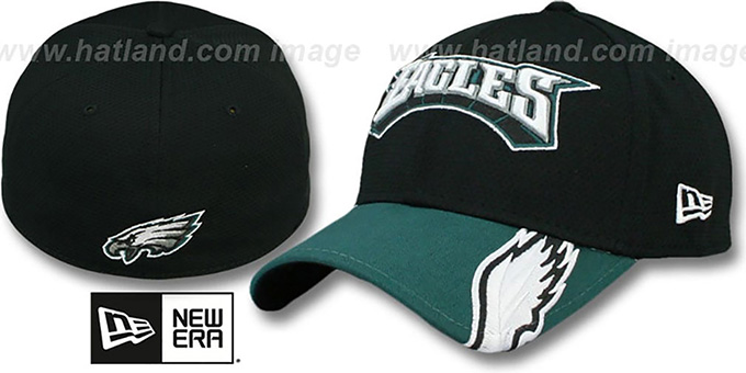Eagles 'HELMET HIT VISOR' Flex Hat by New Era : pictured without stickers that these products are shipped with
