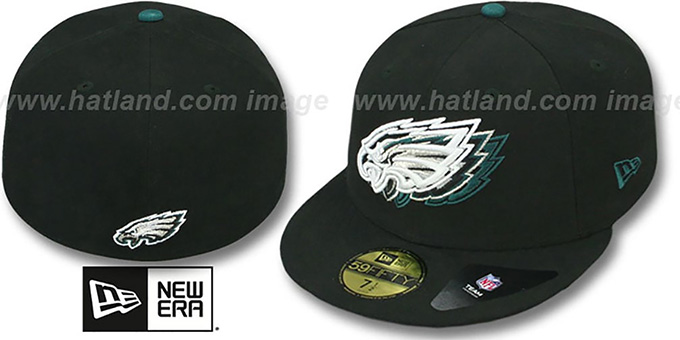 Eagles 'ILLUSION' Black Fitted Hat by New Era : pictured without stickers that these products are shipped with