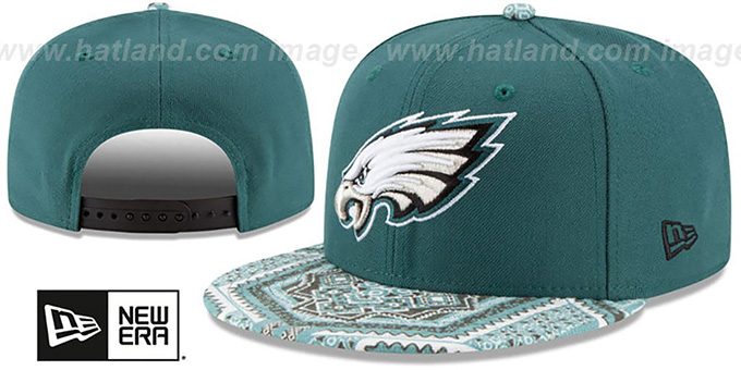 Eagles 'KALEIDOVIZE SNAPBACK' Green Hat by New Era : pictured without stickers that these products are shipped with