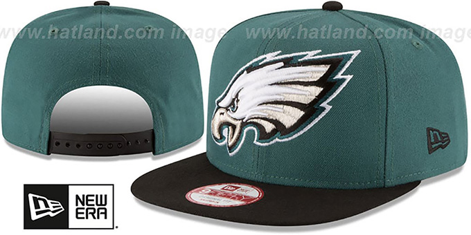 Eagles 'LOGO GRAND REDUX SNAPBACK' Green-Black Hat by New Era : pictured without stickers that these products are shipped with