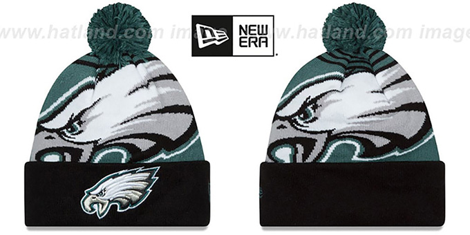 Eagles 'LOGO WHIZ' Green-Black Knit Beanie Hat by New Era : pictured without stickers that these products are shipped with
