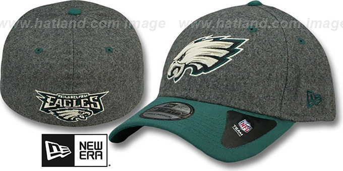 Eagles 'MELTOP FLEX' Grey-Green Hat by New Era : pictured without stickers that these products are shipped with