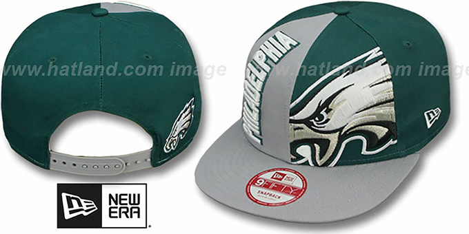Eagles 'NE-NC DOUBLE COVERAGE SNAPBACK' Hat by New Era : pictured without stickers that these products are shipped with