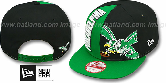 Eagles 'NE-NC THROWBACK DOUBLE COVERAGE SNAPBACK' Hat by New Era : pictured without stickers that these products are shipped with