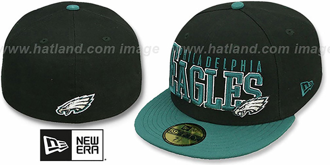 Eagles 'NFL 2T CHOP-BLOCK' Black-Green Fitted Hat by New Era : pictured without stickers that these products are shipped with