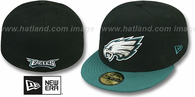 Eagles 'NFL 2T-TEAM-BASIC' Black-Green Fitted Hat by New Era : pictured without stickers that these products are shipped with