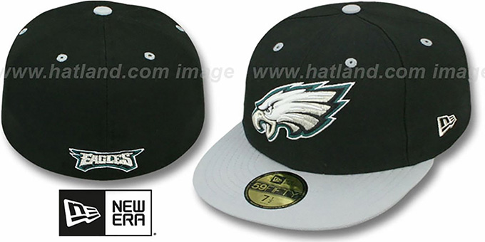 Eagles 'NFL 2T-TEAM-BASIC' Black-Grey Fitted Hat by New Era : pictured without stickers that these products are shipped with