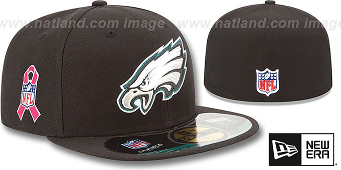 Eagles 'NFL BCA' Black Fitted Hat by New Era : pictured without stickers that these products are shipped with