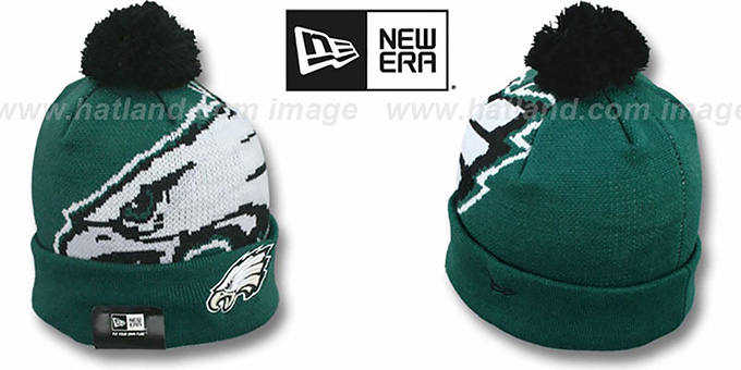 Eagles 'NFL-BIGGIE' Green Knit Beanie Hat by New Era : pictured without stickers that these products are shipped with