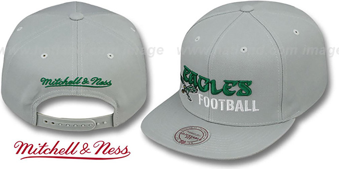 Eagles 'NFL-BLOCKER SNAPBACK' Grey Hat by Mitchell & Ness : pictured without stickers that these products are shipped with