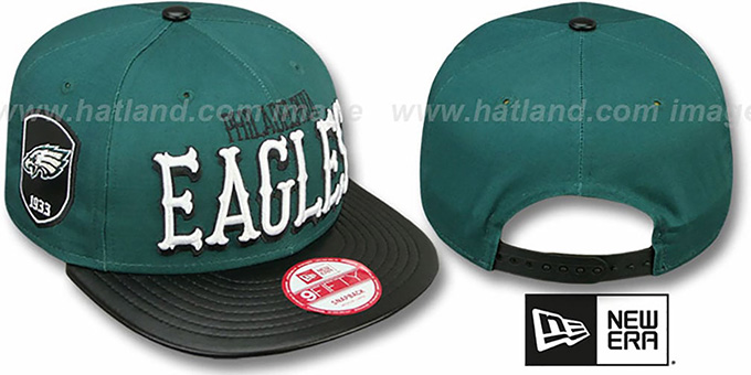 Eagles 'NFL ENGLISH-WORD SNAPBACK' Green-Black Hat by New Era : pictured without stickers that these products are shipped with