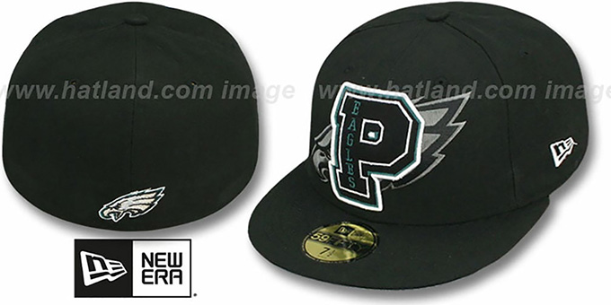 Eagles 'NFL FELTN' Black Fitted Hat by New Era : pictured without stickers that these products are shipped with