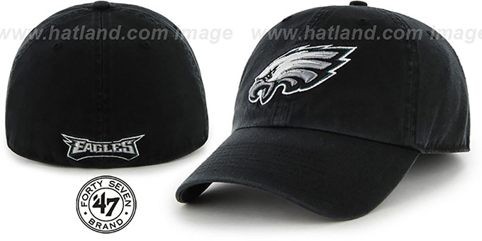 Eagles 'NFL FRANCHISE' Black Hat by Twins 47 Brand : pictured without stickers that these products are shipped with