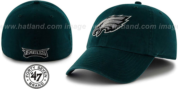 Eagles 'NFL FRANCHISE' Green Hat by 47 Brand : pictured without stickers that these products are shipped with