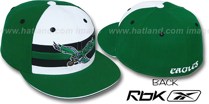 Eagles 'NFL-HORIZON THROWBACK' Fitted Hat by Reebok : pictured without stickers that these products are shipped with
