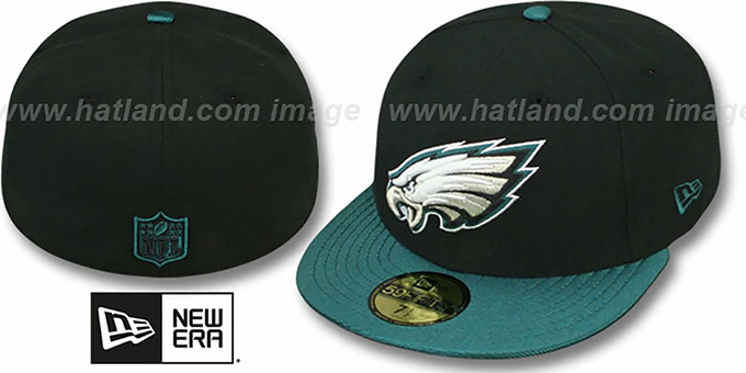 Eagles 'NFL JERSEY-BASIC' Black-Green Fitted Hat by New Era : pictured without stickers that these products are shipped with