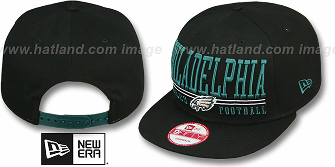 Eagles 'NFL LATERAL SNAPBACK' Black Hat by New Era : pictured without stickers that these products are shipped with