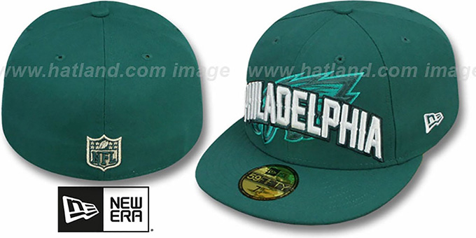 Eagles 'NFL ONFIELD DRAFT' Green Fitted Hat by New Era : pictured without stickers that these products are shipped with