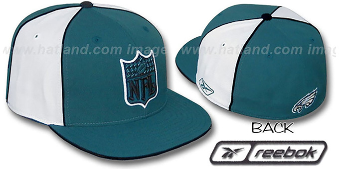Eagles 'NFL SHIELD PINWHEEL' Green White Fitted Hat by Reebok : pictured without stickers that these products are shipped with