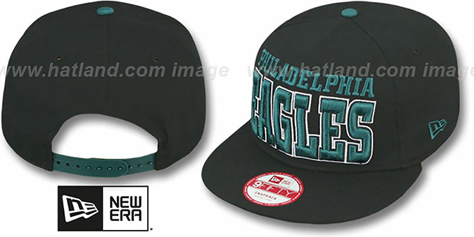 Eagles 'NFL SOLID SNAPBACK' Black Hat by New Era : pictured without stickers that these products are shipped with