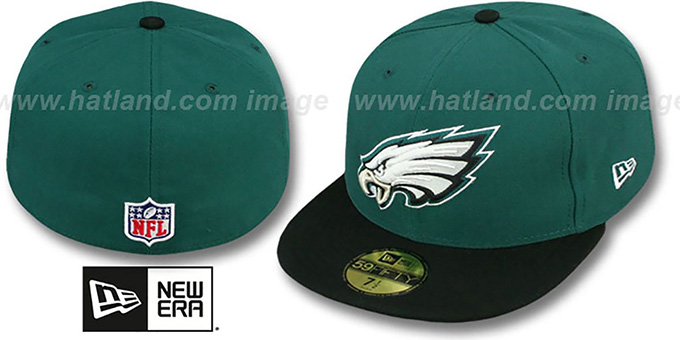 Eagles 'NFL STADIUM' Green-Black Fitted Hat by New Era : pictured without stickers that these products are shipped with