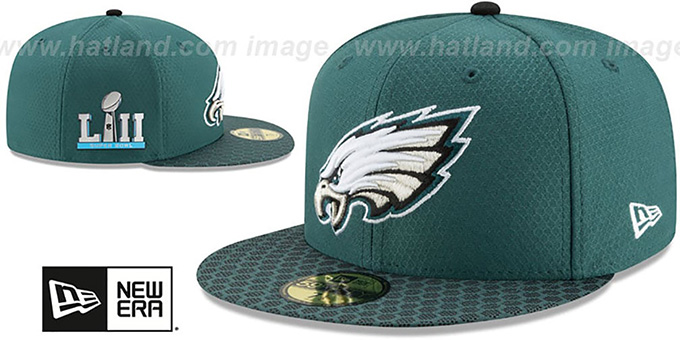 Philadelphia Eagles NFL SUPER BOWL LII ONFIELD Green Fitted Hat 7d0e37181