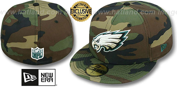 Eagles 'NFL TEAM-BASIC' Army Camo Fitted Hat by New Era : pictured without stickers that these products are shipped with