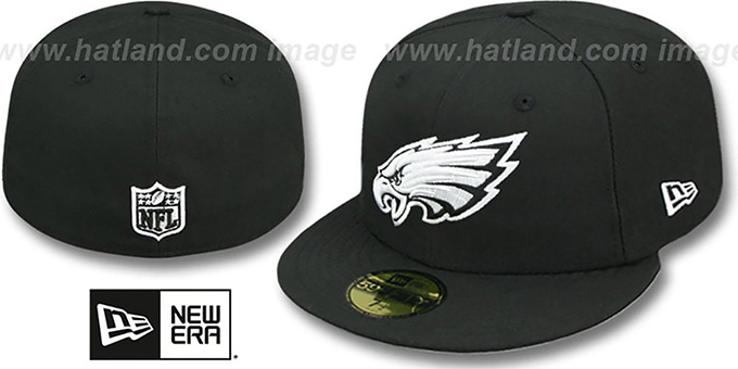 Eagles 'NFL TEAM-BASIC' Black-White Fitted Hat by New Era : pictured without stickers that these products are shipped with