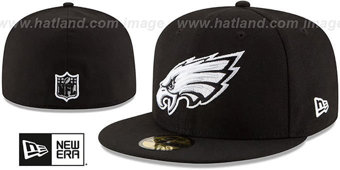 Eagles 'NFL TEAM-BASIC' Black-White Fitted Hat by New Era