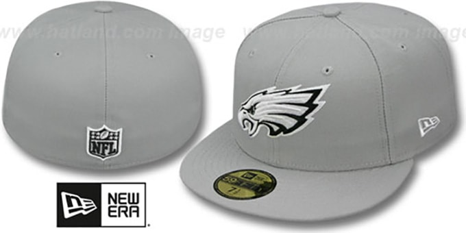 Eagles 'NFL TEAM-BASIC' Grey-Black-White Fitted Hat by New Era : pictured without stickers that these products are shipped with