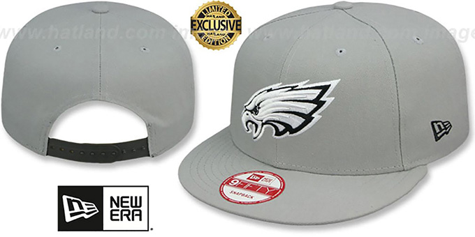 Eagles 'NFL TEAM-BASIC SNAPBACK' Grey-Black Hat by New Era : pictured without stickers that these products are shipped with