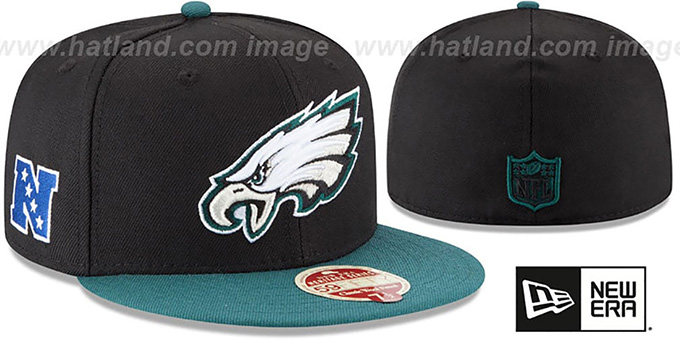 Eagles 'NFL WOOL-STANDARD' Black-Green Fitted Hat by New Era : pictured without stickers that these products are shipped with