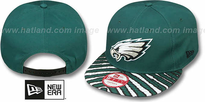 Eagles 'NFL ZUBAZ SNAPBACK' Green Hat by New Era : pictured without stickers that these products are shipped with