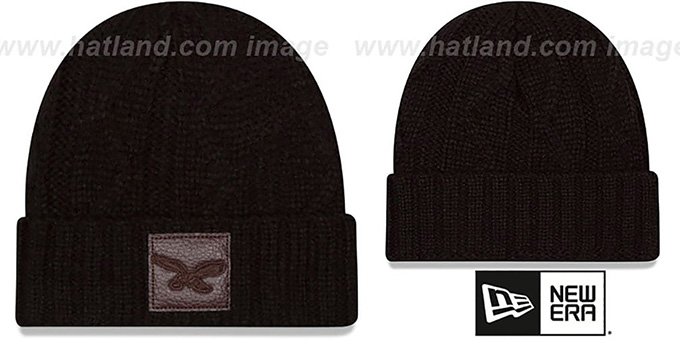 Eagles 'THROWBACK OHANA' Black Knit Beanie Hat by New Era : pictured without stickers that these products are shipped with