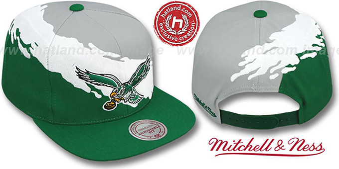 Eagles 'PAINTBRUSH SNAPBACK' Grey-White-Green Hat by Mitchell and Ness : pictured without stickers that these products are shipped with