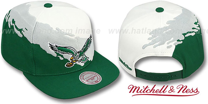 Eagles 'PAINTBRUSH SNAPBACK' White-Grey-Green Hat by Mitchell & Ness : pictured without stickers that these products are shipped with