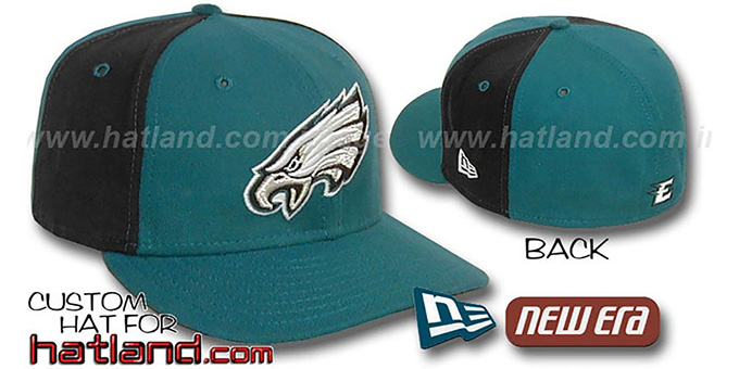 Eagles 'PINWHEEL-2' Green-Black Fitted Hat : pictured without stickers that these products are shipped with