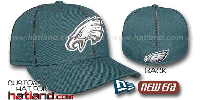 Eagles 'PIPING' Fitted Hat by New Era - green-black : pictured without stickers that these products are shipped with