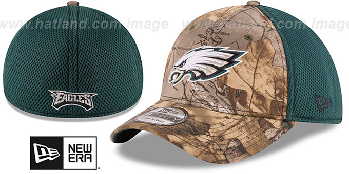 Eagles 'REALTREE NEO MESH-BACK' Flex Hat by New Era : pictured without stickers that these products are shipped with