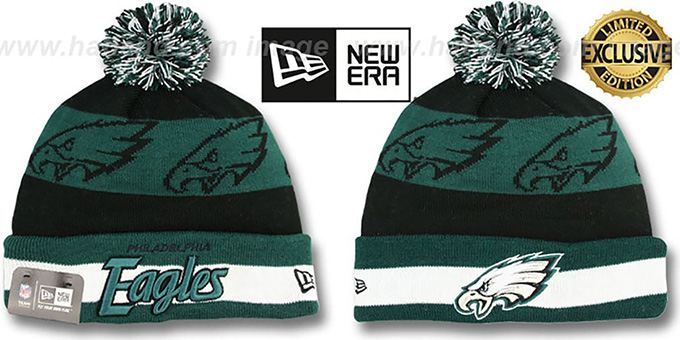 Eagles 'REPEATER SCRIPT' Knit Beanie Hat by New Era : pictured without stickers that these products are shipped with