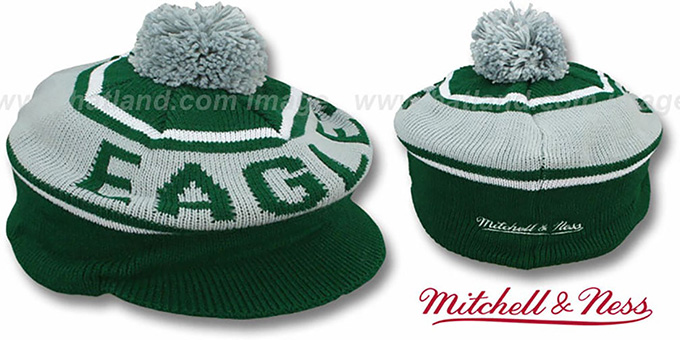 Eagles 'RERUN KNIT BEANIE' by Mitchell and Ness : pictured without stickers that these products are shipped with