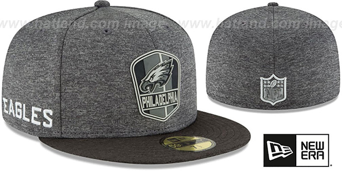 official photos 27e82 8c182 Eagles  ROAD ONFIELD STADIUM  Charcoal-Black Fitted Hat by New Era