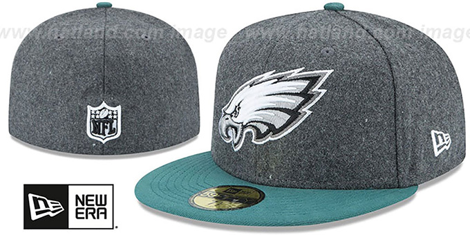 Eagles 'SHADER MELTON' Grey-Green Fitted Hat by New Era : pictured without stickers that these products are shipped with