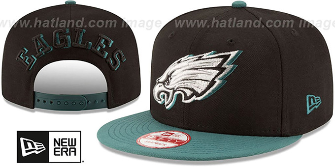 Eagles 'SHADOW SLICE SNAPBACK' Black-Green Hat by New Era : pictured without stickers that these products are shipped with