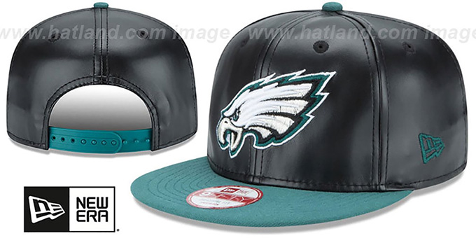 Eagles 'SMOOTHLY STATED SNAPBACK' Black-Green Hat by New Era : pictured without stickers that these products are shipped with