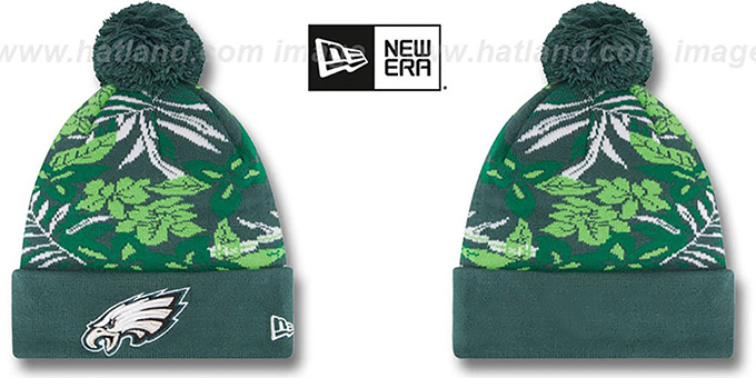 Eagles 'SNOW-TROPICS' Green Knit Beanie Hat by New Era : pictured without stickers that these products are shipped with