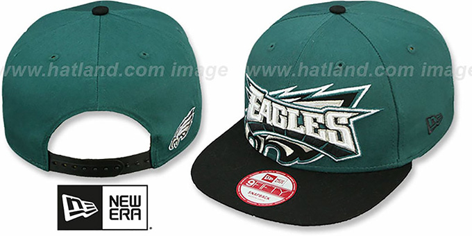 Eagles 'SQUARED-UP SNAPBACK' Green-Black Hat by New Era : pictured without stickers that these products are shipped with