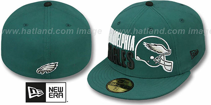 Eagles 'STACK-THE-BOX' Green Fitted Hat by New Era : pictured without stickers that these products are shipped with