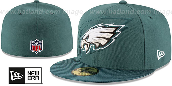 Eagles 'STADIUM SHADOW' Green Fitted Hat by New Era : pictured without stickers that these products are shipped with
